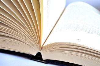 book lying on it's spine, face-up with pages fanned open