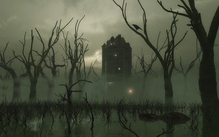 ghost lights over a bog with dead trees, Gothic structure in background