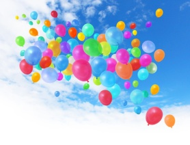 Colorful balloons on blue sky