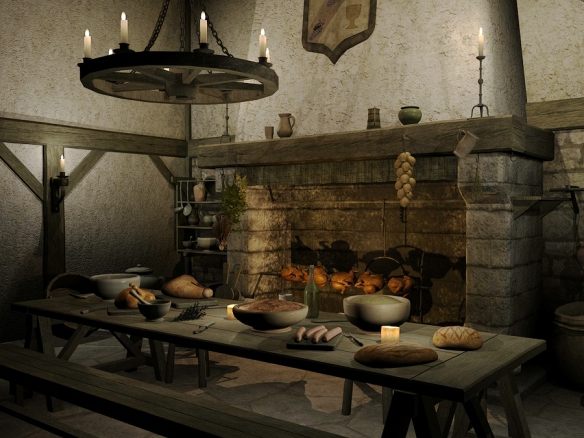 Old table in front of a hearth laden with bowls of food, lighted chandelier of candles hanging above table