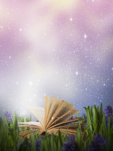whimsical colorful rendering of an open book lying in tall grass beneath a starry sky