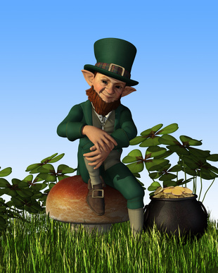 Leprechaun Sitting on Toadstool