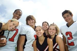 High School Football Players and Cheerleaders