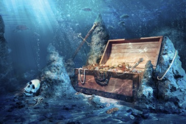 open treasure chest with shinny gold underwater