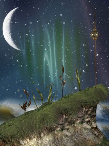 fantasy landscape in the nigth