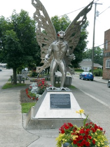 Mothman statue located in Gunn Park, Point Pleasant, West Virginia