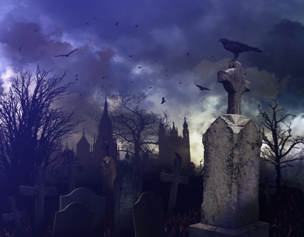 A crow perched on a tombstone at night in a spooky cemetery