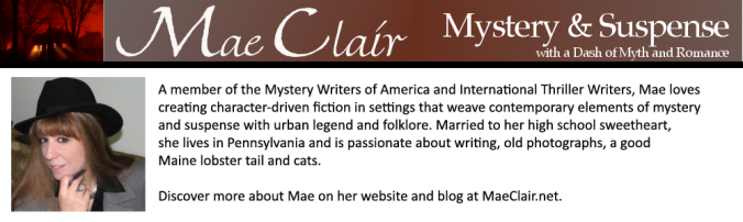 Promotional banner for author Mae Clair with bio and author photo, spooky house as header in wash of red