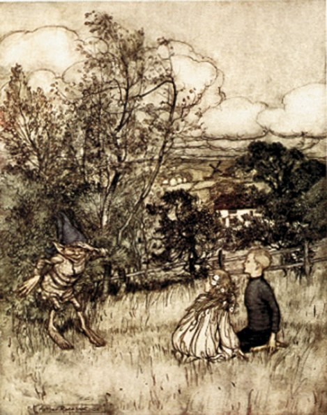 Rendering of Puck in field coming upon two human children