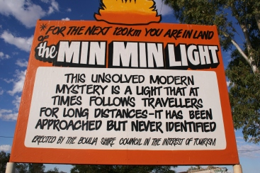 Sign welcoming visitors to Min Min Light Territory in Boulia, Queensland, Australia
