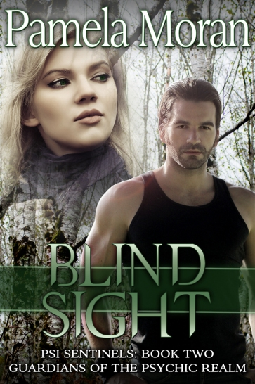 Book cover for Blind Sight by Pamela Moran depicting a young attractive man and woman with trees in the background
