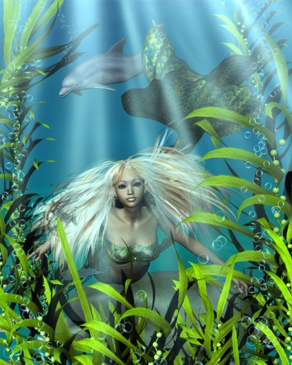 Pretty blonde mermaid with green and blue fish scales peering through the seaweed in an underwater scene, 3d digitally rendered illustration