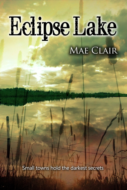 Book cover for Eclipse Lake by Mae Clair depicting a summer lake with rushes at sunset