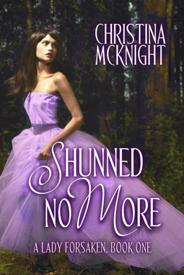 Book cover for Shunned No More by author Christina McKnight depicting a Regency-era woman in a flowing lavender gown looking over her shoulder