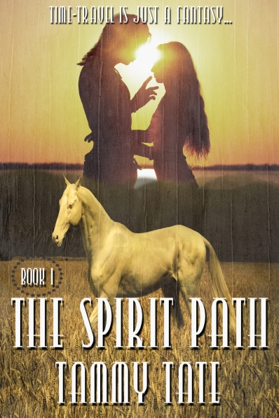 Book cover for The Spirit Path by Tammy Tate showing a couple in silhouette with a horse in the foreground