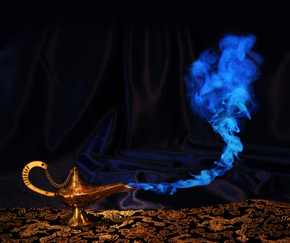 magic Aladdin genie lamp with blue smoke