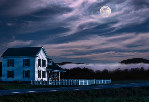 Rural farmstead at night with fog and moon