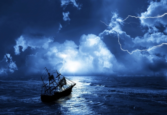 sailing-ship on moonlit ocean during storm with lightning