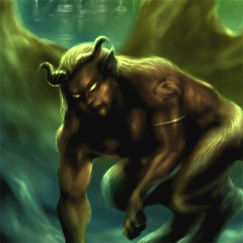 Illustration of a creature resembling a satyr