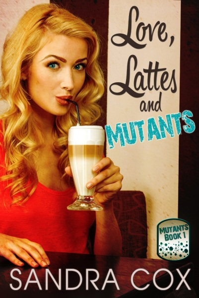 book cover for Love, Lattes and Mutants with young pretty blonde sipping from an old-fashioned soda