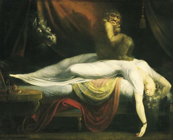 "Photographic representation of painting ""The Nightmare"" by John Henry Fuseli  [Public domain], via Wikimedia Commons"