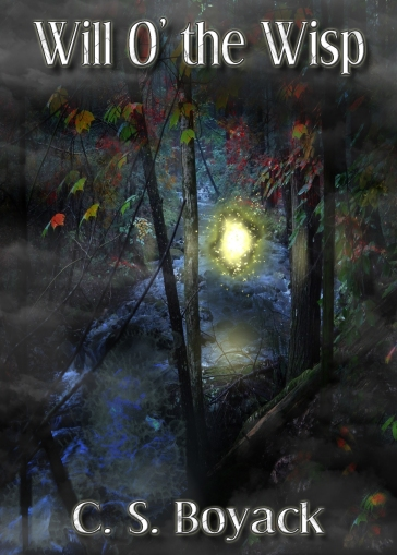 Book cover for Will O' the Wisp by C. S. Boyack depicting a ghostly floating light over a stream with trees