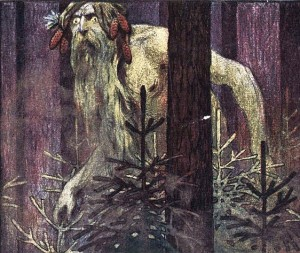 Illustration of the forest dwelling Leshy lurking among the trees.