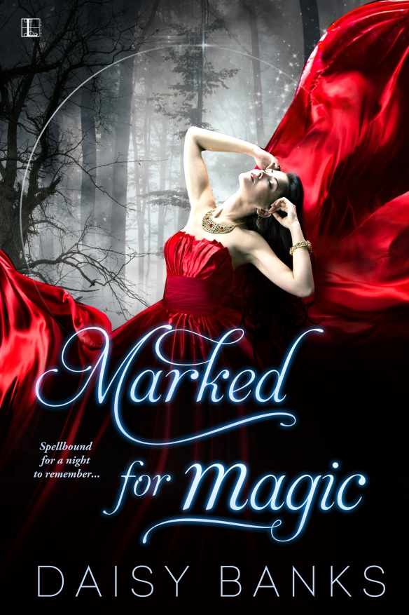 Book cover Marked for Magic by Daisy Banks depicts a woman wearing a flowing red gown in a dark forest