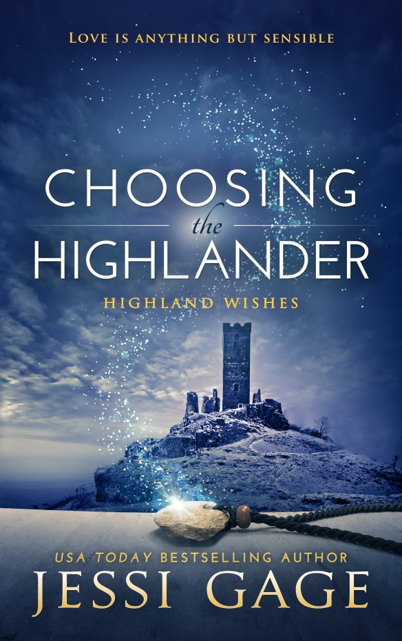 Book cover for Choosing the Highlander by Jessi Gage depicts an isolated castle on a bluff with a pendant in the foreground
