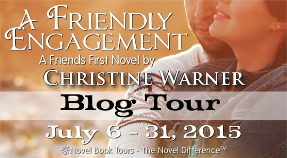 Blog tour banner for A Friendly Engagemen, a romance novelt by Christine Warner