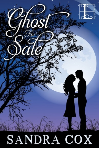 Book cover of Ghost for Sale by Sandra Cox, depicts a couple in silhouette in front of a full moon on a night sky