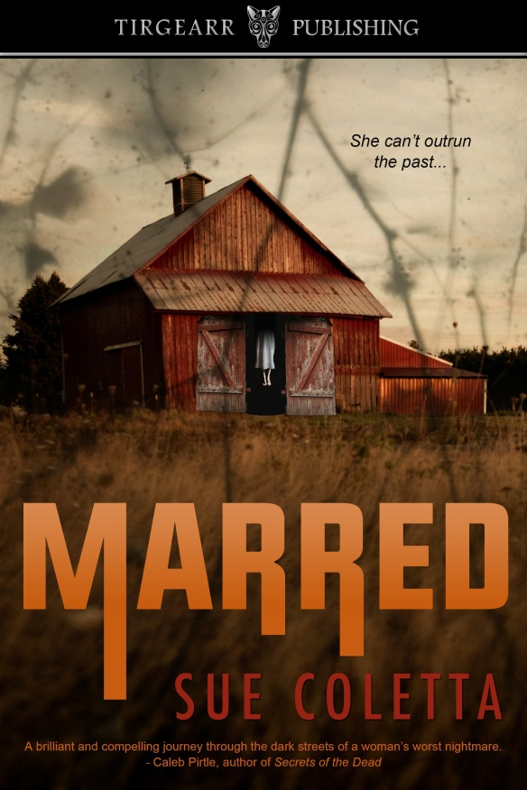 book cover for Marred by Sue Coletta, a suspense thriller. Shows rural barn with body hanging in open doorway