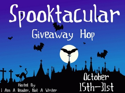 Logo for the Spooktacular Blog Hop with a night sky, full moon and bats