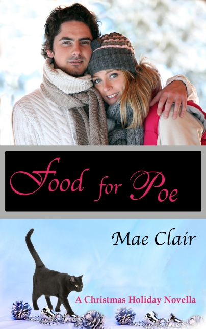 Cover of FOOD FOR POE with cute young couple and a black cat.