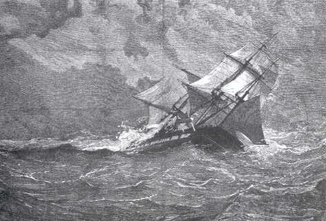 Illustration of the HMS Eurydice caught in the squall that caused the ship to sink