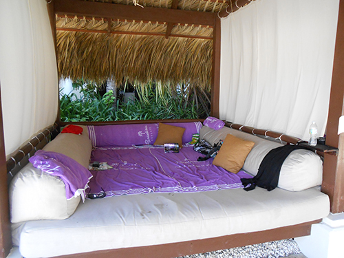 Close up of Bali bed interior