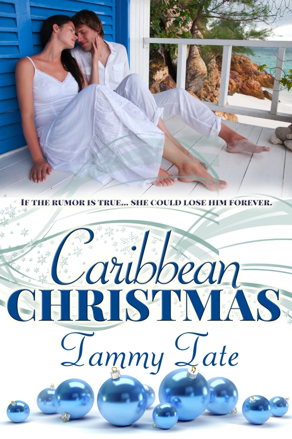 Book cover for Carribean Christmas by Tammy Tate features young couple on a covered porch in a tropical location