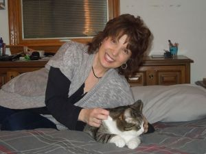 Author Karen Melana with cat