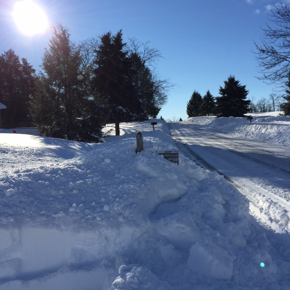 Blizzard of 2016, mailbox buried in snow mound