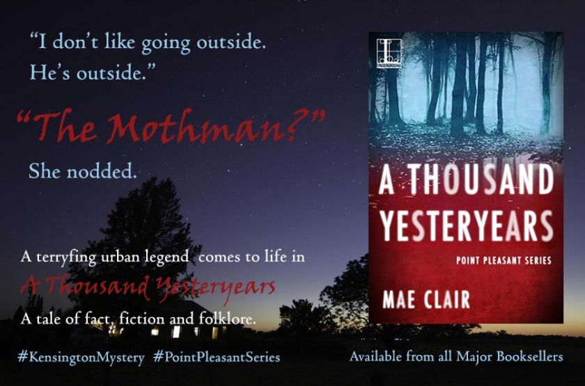 Banner ad for A Thousand Yesteryears by Mae Clair features the night sky over an old farmhouse