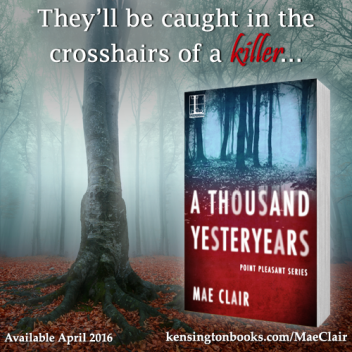 Graphic promoting A Thousand Yesteryears, a novel by Mae Clair shows book cover and close-up of an old tree in a foggy woodlands