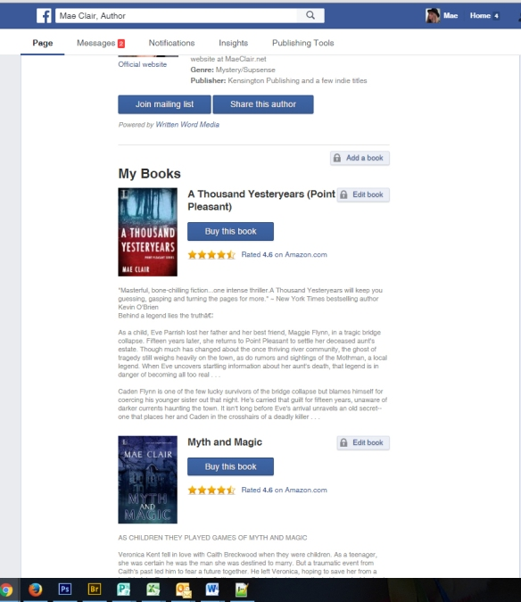 screenshot of author app on Facebook page of Mae Clair, author
