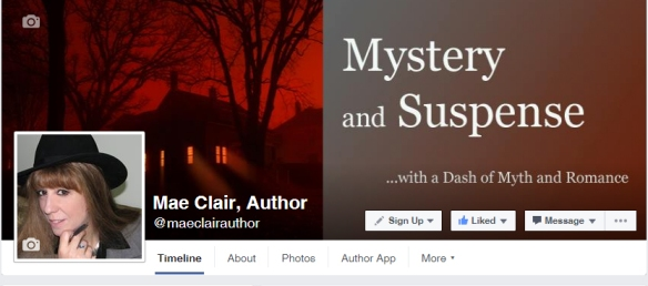 screenshot of the Facebook fan page for author Mae Clair showing a spooky house with light streaming from the windows on a red background