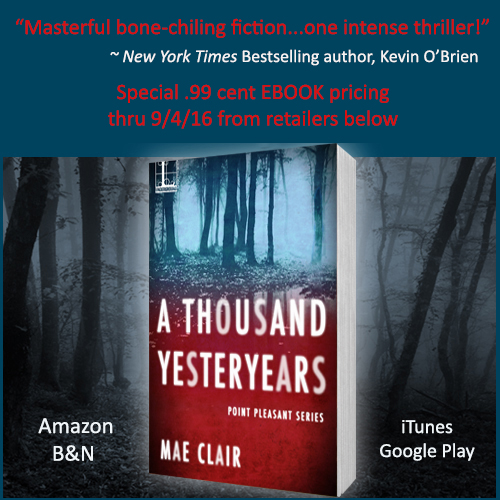 Book cover for A Thousand Yesteryears by Mae Clair shows dark spooky forest at night with book tile in white on red background