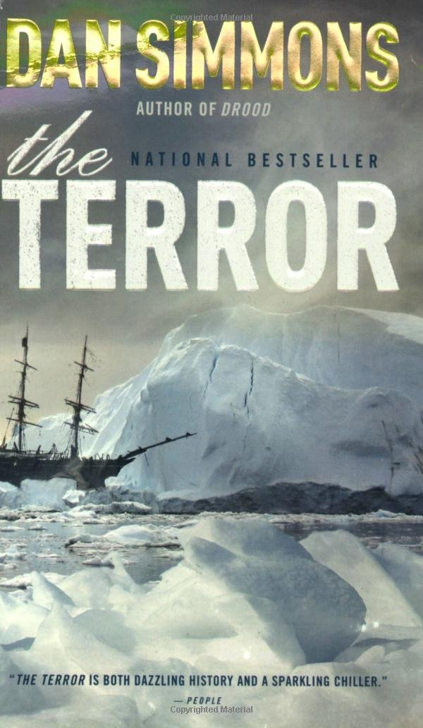 Book cover for THE TERROR by Dan Simmons which shows an old clipper ship without sails surrounded by ice and glaciers