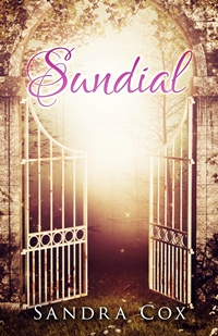 Book cover for Sundial shows ornate white gates partially open with bright light behind them