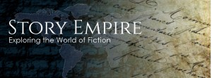 old world type map with script writing laid over top and words Story Empire set off as a bold header