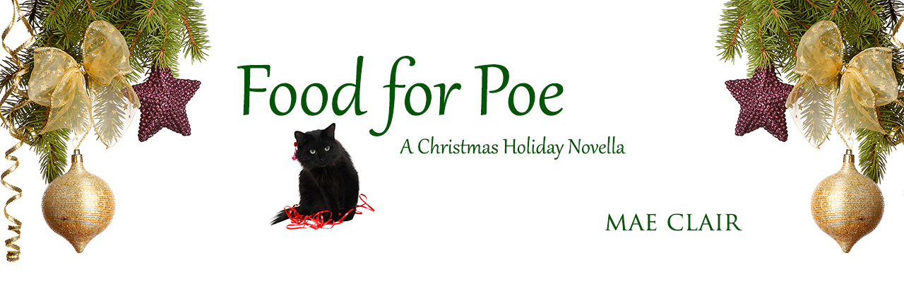 A black cat sitting on red ribbon and surrounded by Christmas decorations