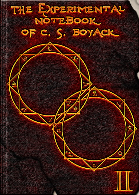 Book cover for The Experimental Notebook of C. S. Boyack II is rustic brown with gold alchemy rings