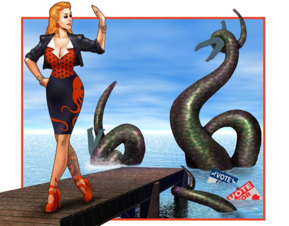 Drawing of sexy blond woman in heels on a pier doing a backhanded wave to a sea-serpent that has two men clutched in tentacles. Election signs are sinking in water